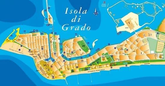 Grado Ostrov slnka - cesta, mapy
